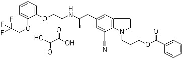 1-[3-(benzoyloxy)propyl]-2,3-dihydro-5-[(2R)-2-[[2-[2-(2,2,2-trifluoroethoxy)phenoxy]ethyl]amino]propyl]-1H-Indole-7-carbonitrile oxalate CAS 885340-12-5