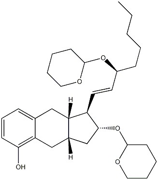1H-Benz[f]inden-5-ol, 2,3,3a,4,9,9a-hexahydro-2-[(tetrahydro-2H-pyran-2-yl)oxy]-1-[(1E,3S)-3-[(tetrahydro-2H-pyran-2-yl)oxy]-1-octen-1-yl]-, (1R,2R,3aS,9aS)- CAS 81846-28-8